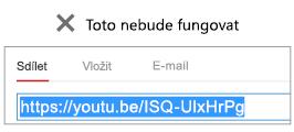 Pokud kód pro vložení začíná na http, video se nevloží.