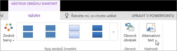 Snímek obrazovky znázorňuje kartu Návrh v části Nástroje obrázku SmartArt s kurzorem ukazujícím na možnost Alternativní text.