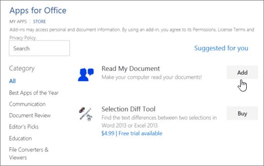 Snímek obrazovky s aplikací pro Office v úložišti, kde můžete vybrat nebo hledání aplikace pro Word.