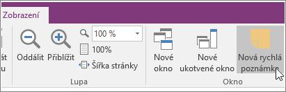 Snímek obrazovky s tlačítkem Nová rychlá poznámka ve OneNotu 2016