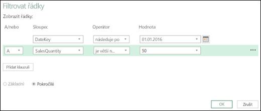 Rozšířený dialog Filtrovat řádky v Editoru dotazů v Power BI v Excelu