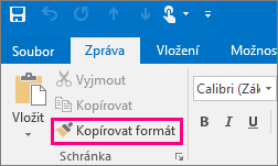 Zobrazuje tlačítko Kopírovat formát v nové zprávě v Outlooku.