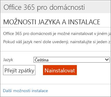 Na stránce možností instalace jazyka zvolte odkaz Další možnosti instalace