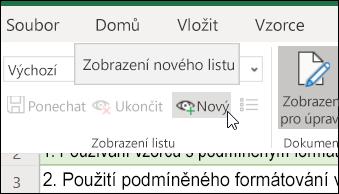 Tlačítko Nový ve skupině Zobrazení listů
