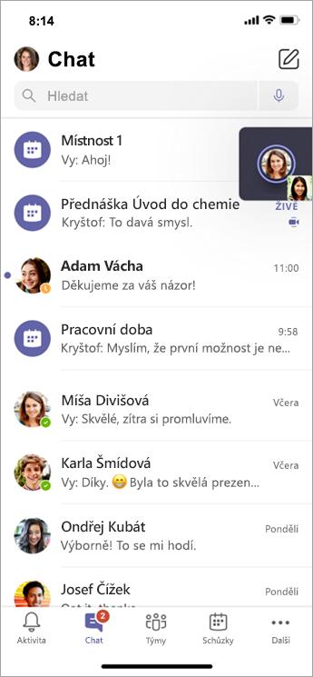 Chat ve skupinové místnosti na mobilním zařízení