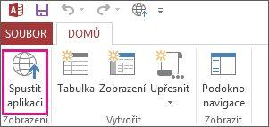 Tlačítko Spustit aplikaci na kartě Domů