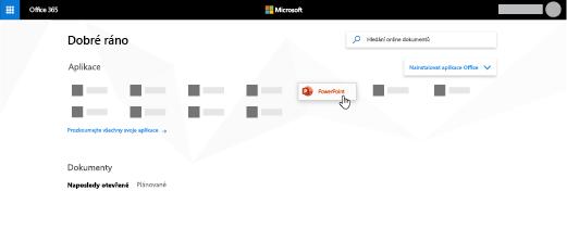 Domovská stránka Office 365 se zvýrazněnou aplikací PowerPoint