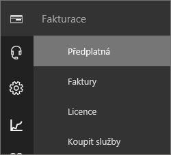 Snímek obrazovky s nabídkou Fakturace a s vybraným předplatným v novém Centru pro správu Office 365