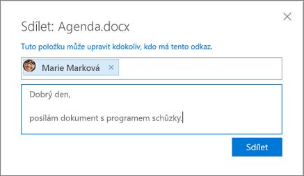 Snímek obrazovky s dialogovým oknem Sdílení při sdílení souboru na OneDrivu pro firmy