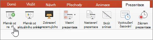 Přehrát prezentaci pomocí tlačítka start