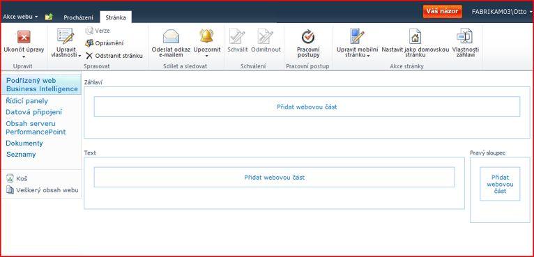 Stránka webových částí se zónami pro přidání webových částí