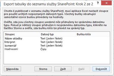 Export do druhé stránce služby SharePoint dialogového okna.