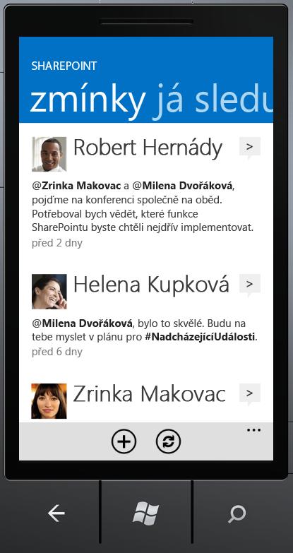 SharePoint Newsfeed – obrazovka zmínky