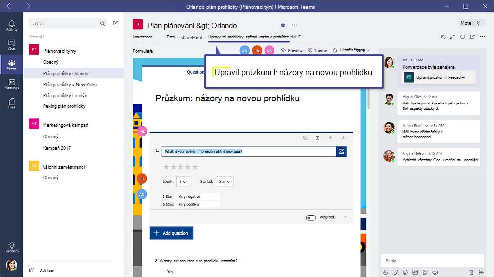 """Kartu formuláře v aplikaci Microsoft Teams zobrazující formuláře v režimu """"Úpravy"""""""