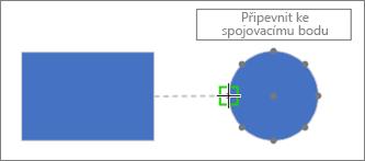 U cílového obrazce se zobrazí popis: Připevnit ke spojovacímu bodu