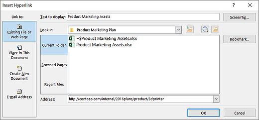 Snímek obrazovky dialogového okna Vložit hypertextový odkaz