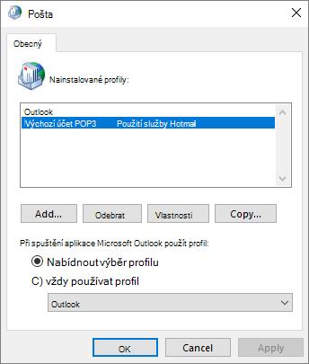 Dialogové okno profilu účtu