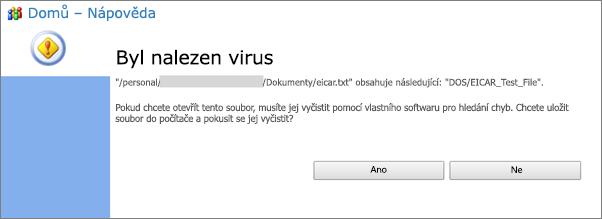 Upozornění antivirové ochrany