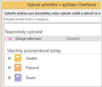 Snímek obrazovky s oknem OneNotu, kde si můžete zvolit stránku pro pořízení poznámek ke Skypu