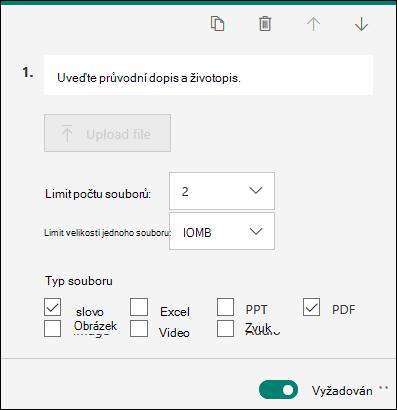 Otázka, která umožňuje odesílání souborů s možnostmi omezení počtu souborů a jednotlivých omezení velikosti souboru v Microsoft Forms