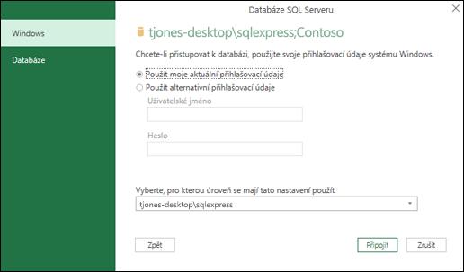 Power Query SQL Server připojení přihlašovací údaje