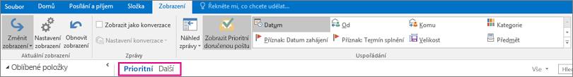 Když je vybraná možnost Zobrazit Prioritní doručenou poštu, zobrazí se v horní části složky Doručená pošta karty Prioritní a Další.