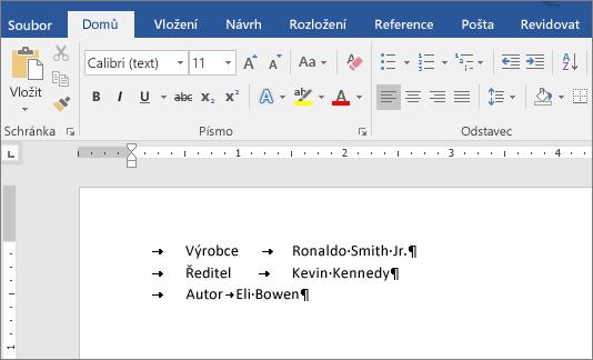 Příklad textu po odebrání zarážek tabulátoru