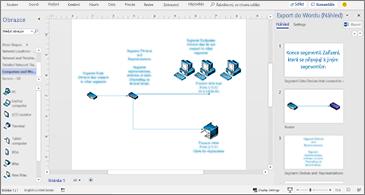 Zpracování dokumentu uprostřed a podokno Exportovat do Wordu napravo