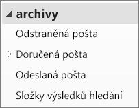 Rozbalením souboru archivu v navigačním podokně zobrazte jeho podsložky.