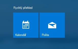 Aplikace Pošta a Kalendář na obrazovce Start