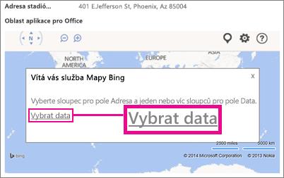 Výběr dat pro aplikaci Mapy Bing pro Office v aplikaci pro Access