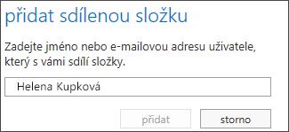 Dialog přidání sdílené složky v Outlook Web Appu