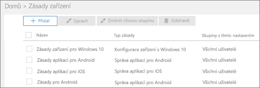 Snímek obrazovky se stránkou Zásady
