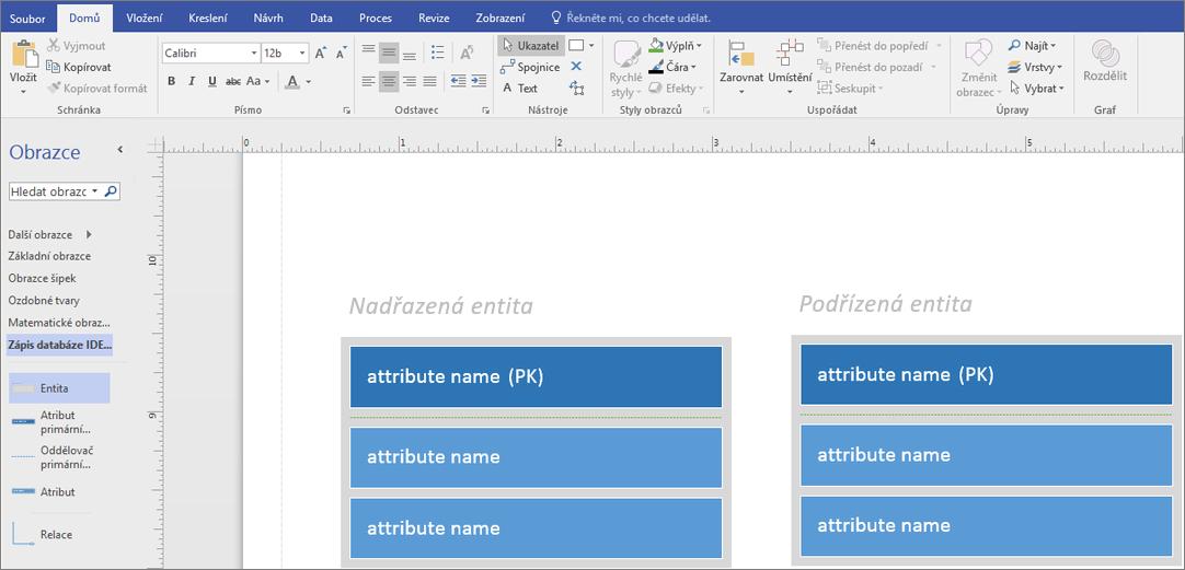 V nadřazené entitě zadejte název atributu v PK.