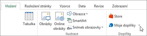 Snímek obrazovky části karta vložení na pásu karet aplikace Excel s kurzorem ukazujícím na můj přidat in vyberte Moje doplňky pro přístup k doplňky aplikace Excel.