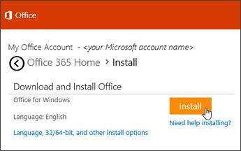 Snímek obrazovky s instalační stránkou na stránce účtu