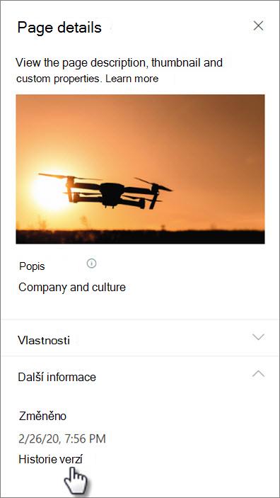 Snímek obrazovky s odkazem na historii verzí v části Podrobnosti stránky