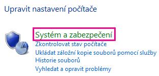 Odkaz Systém a zabezpečení v ovládacích panelech Windows 8