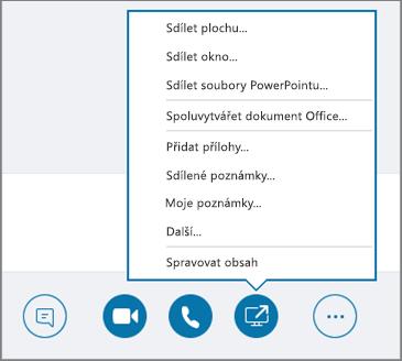 Snímek obrazovky s otevřenou nabídkou pro sdílení obsahu.
