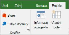 Snímek obrazovky části projektu karta na pásu karet s kurzorem ukazujícím na rozevírací Moje doplňky. Vyberte Moje doplňky vyberte naposledy použité doplněk, spravovat všechny doplňky nebo přejděte do obchodu Office pro nové doplňky.