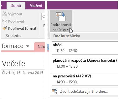 Snímek obrazovky tlačítka Podrobnosti schůzky ve OneNotu 2016