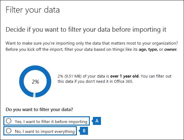 Střih dat v seznamu soubory PST nebo importovat všechno