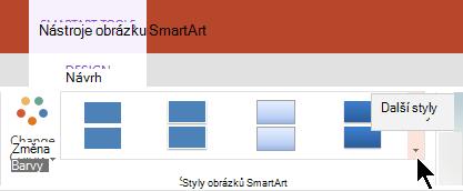 V části Nástroje obrázku SmartArt vyberte šipku Další styly a otevřete tak galerii Styly obrázků SmartArt.
