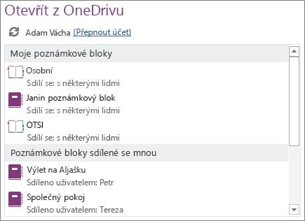 Snímek obrazovky s oblastí Otevřít ze služby OneDrive na stránce Otevřít v zobrazení Backstage.