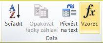 Skupina Data karty Nástroje tabulky - Rozložení na pásu karet v aplikaci Word 2010
