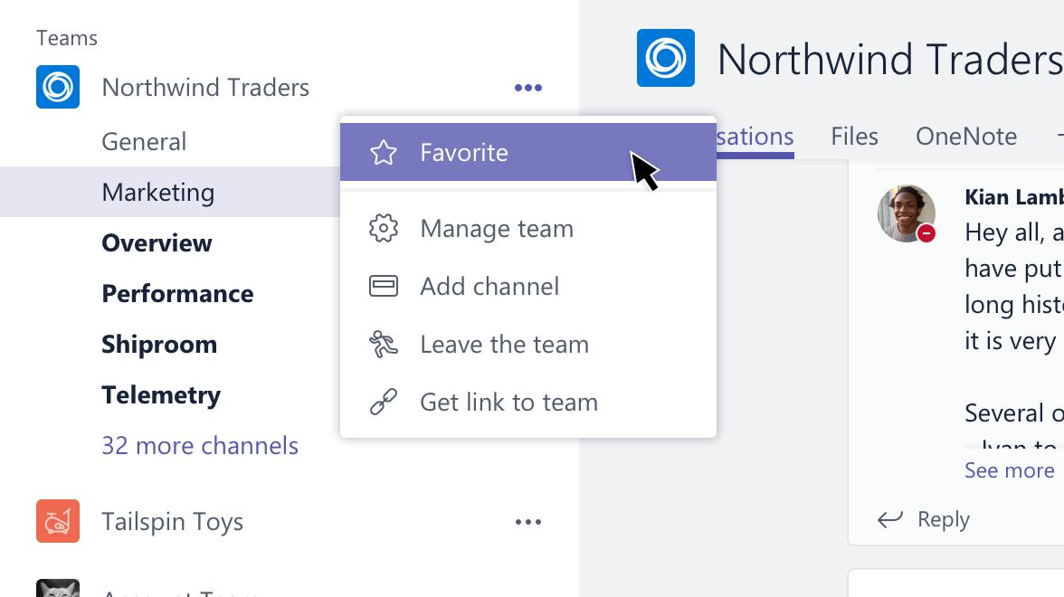 Tento snímek obrazovky ukazuje možnosti pro řízení týmů.