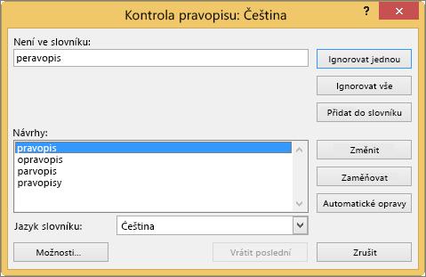 Dialogové okno Kontrola pravopisu