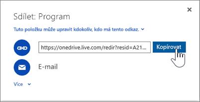 Snímek obrazovky aplikace OneDrive s možností Získat odkaz v dialogovém okně Sdílet