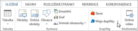 Snímek obrazovky s kartou vložení na pásu karet aplikace Word s kurzorem ukazujícím na Store. Vyberte úložiště přejít na Office Store a vyhledejte doplňky pro Word.