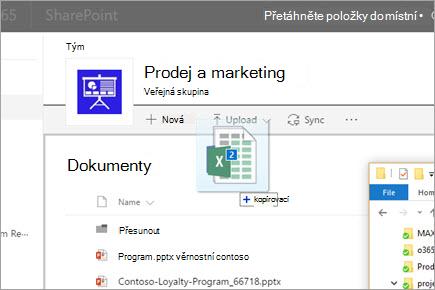 Přetažení souboru do knihovny dokumentů SharePointu